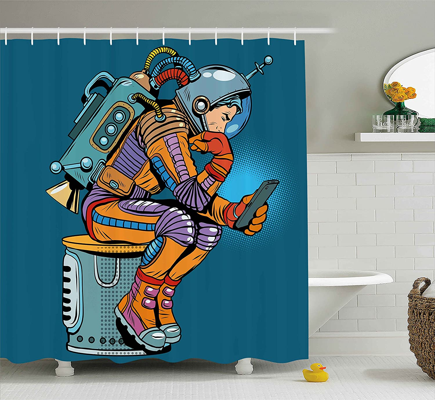 Ambesonne Outer Space Shower Curtain by, Illustration of Astronaut with a Smartphone Pop Art Retro Style, Fabric Bathroom Decor Set with Hooks, 70 Inches, Petrol Blue and Marigold