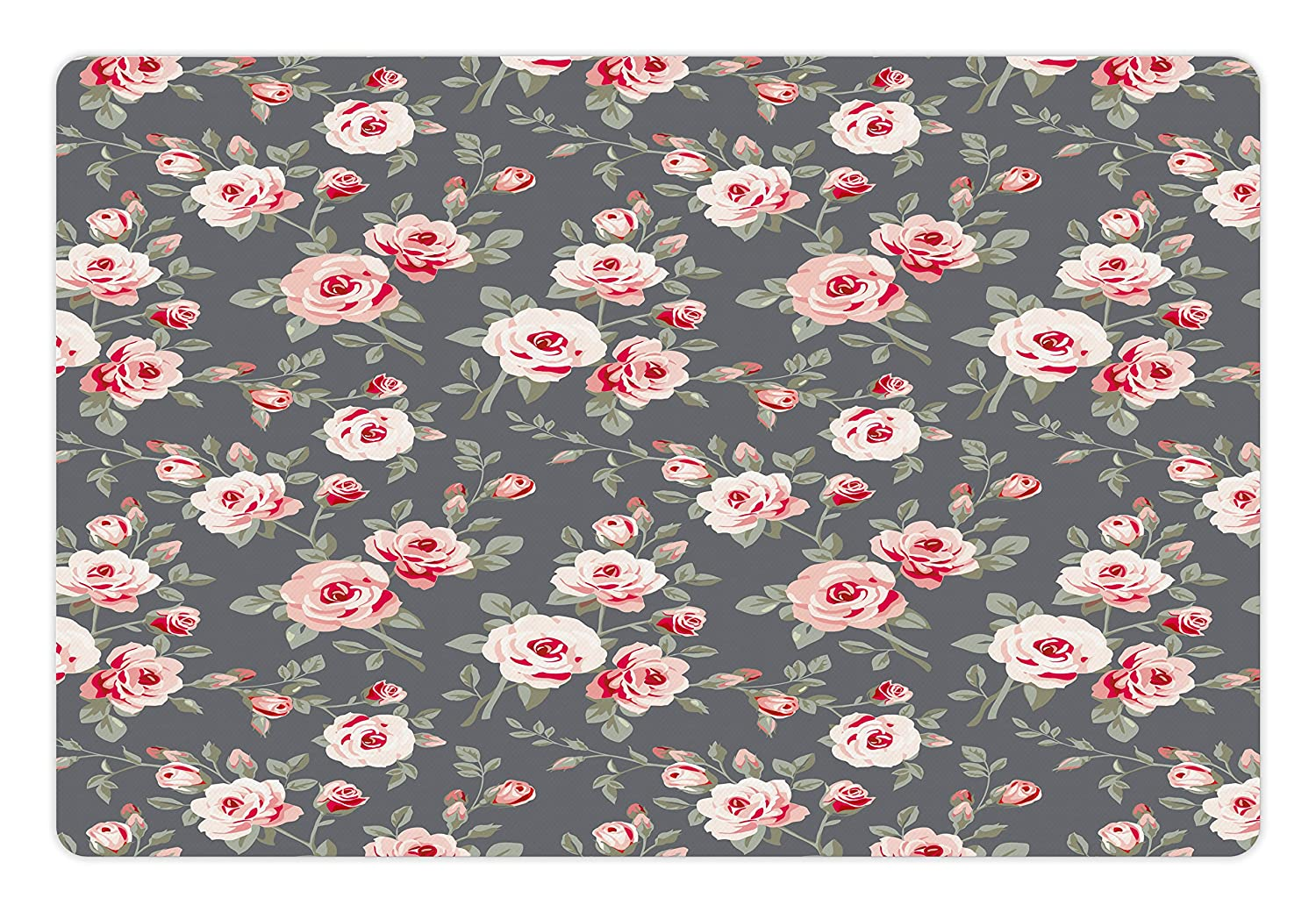 Ambesonne Shabby Chic Pet Mat for Food and Water, Vintage Style Vibrant  Roses Leaves Bush Buds Stems Rural Area Classical Pattern, Rectangle  Non-Slip Rubber ...