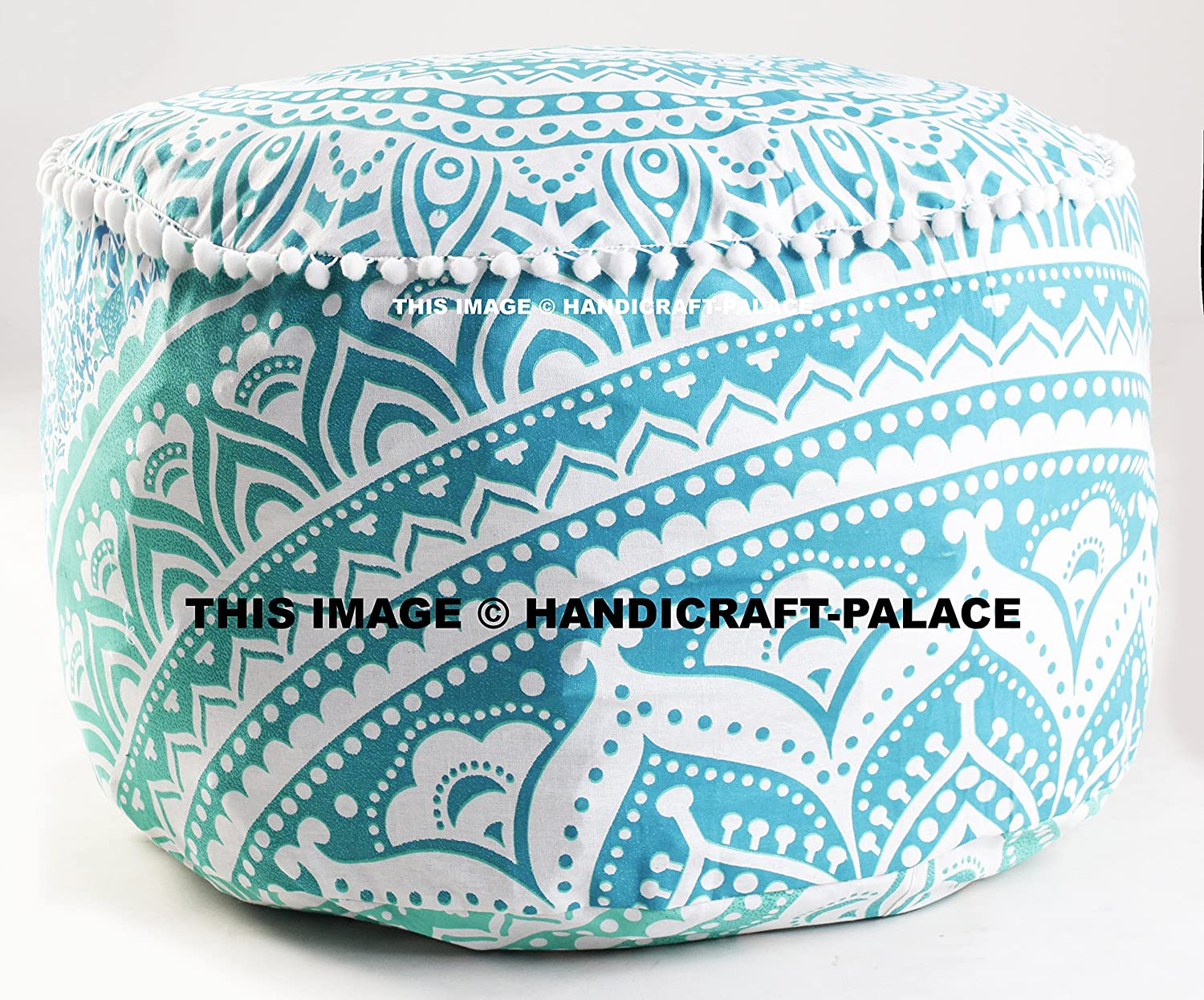 Indian Green Ombre Mandala Ottoman Pouf , Indian Living Room Pouf, Foot Stool,By Handicraft-Palace MOS-17