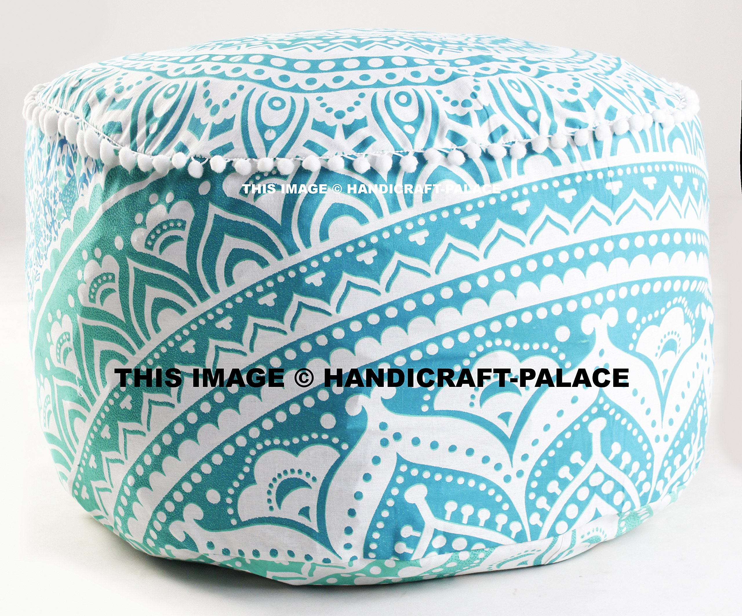 Indian Green Ombre Mandala Ottoman Pouf , Indian Living Room Pouf, Foot Stool,By ''Handicraft-Palace''