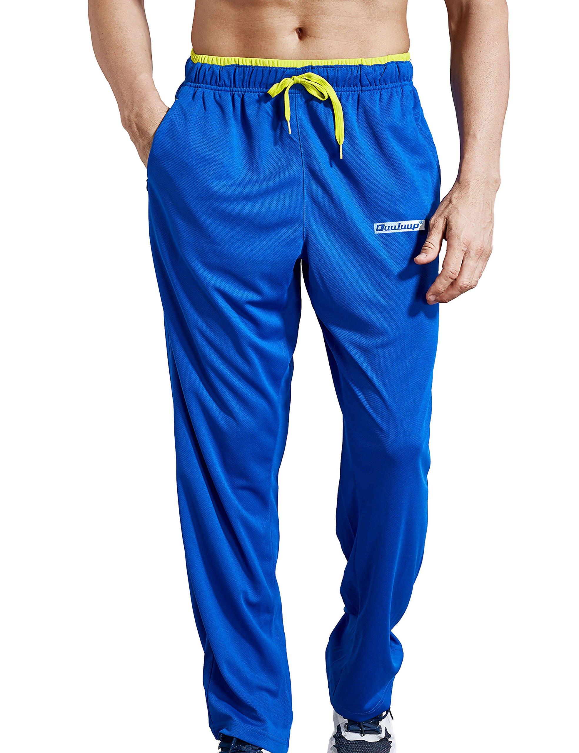 Duuluup Men Sport Pants - Quick Dry Active Sports Sweatpants Color Mixing with Zipper Pockets(Blue,XL)