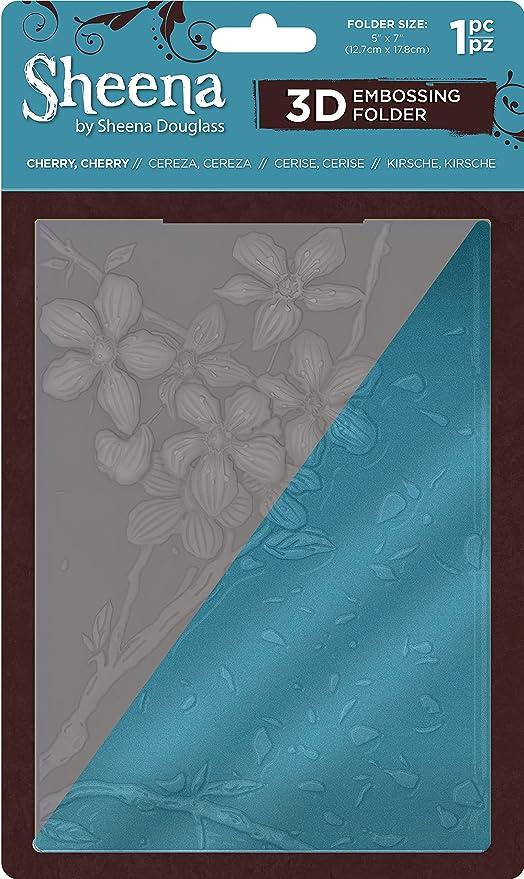 Sheena SD-EF5-3D-CHCH 5x7 16.5 x 18.8 x 0.3 cm Cherry 3D Embossing Folder Transparent
