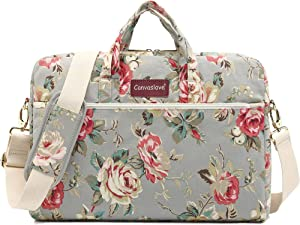 Canvaslove Grey Rose Pattern 15 inch Waterproof Laptop Shoulder Messenger Bag Case With Rebound Bubble Protection for 14 inch-15.6 inch laptop