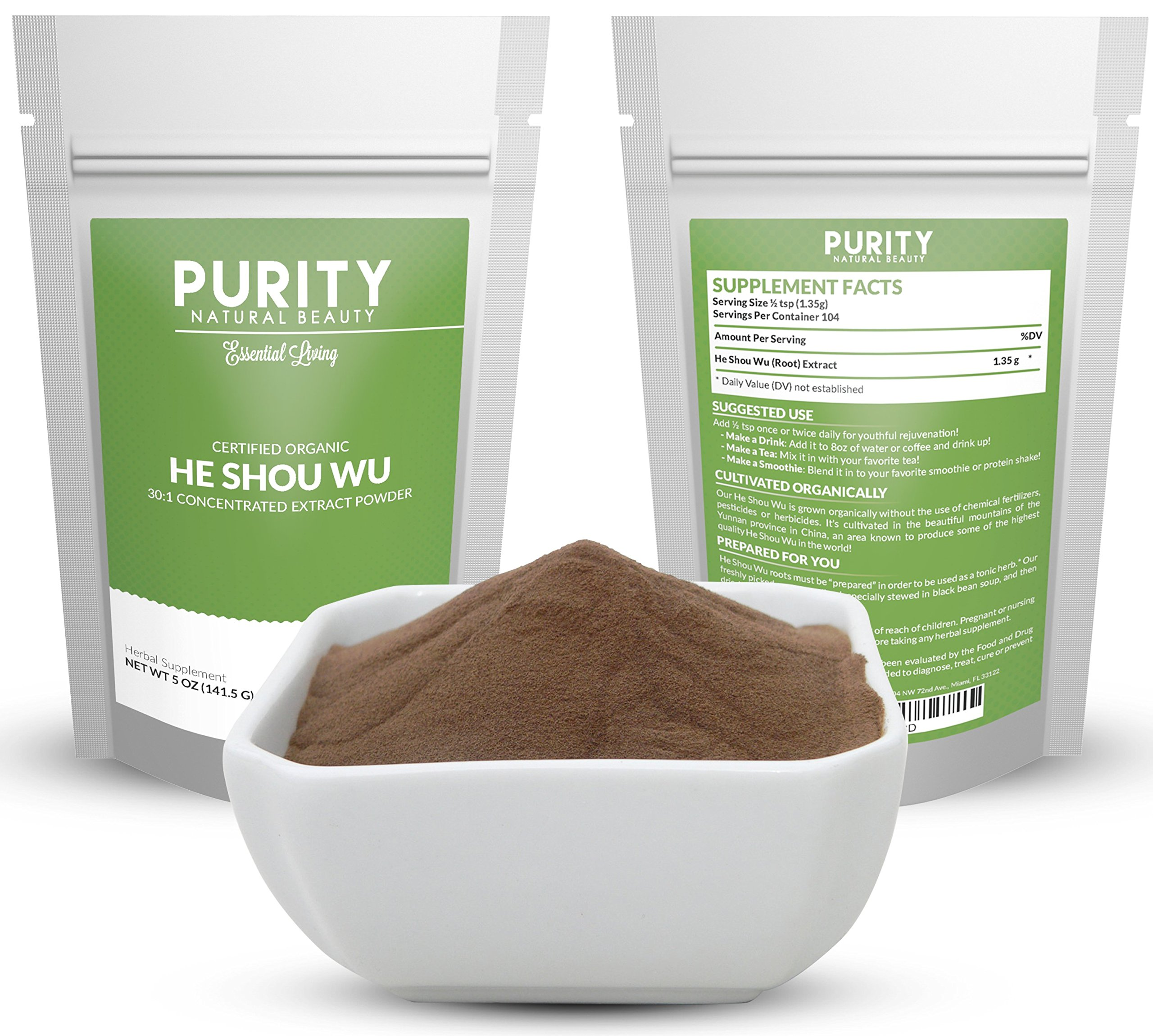 Certified Organic He Shou Wu - Large 5oz Bag, 30:1 Potency Fo Ti for Maximum Effectiveness, Restore Hair Color, Boost Energy, Sleep Better, Pleasantly Mild Taste, Dissolves Easily in Coffee or Tea