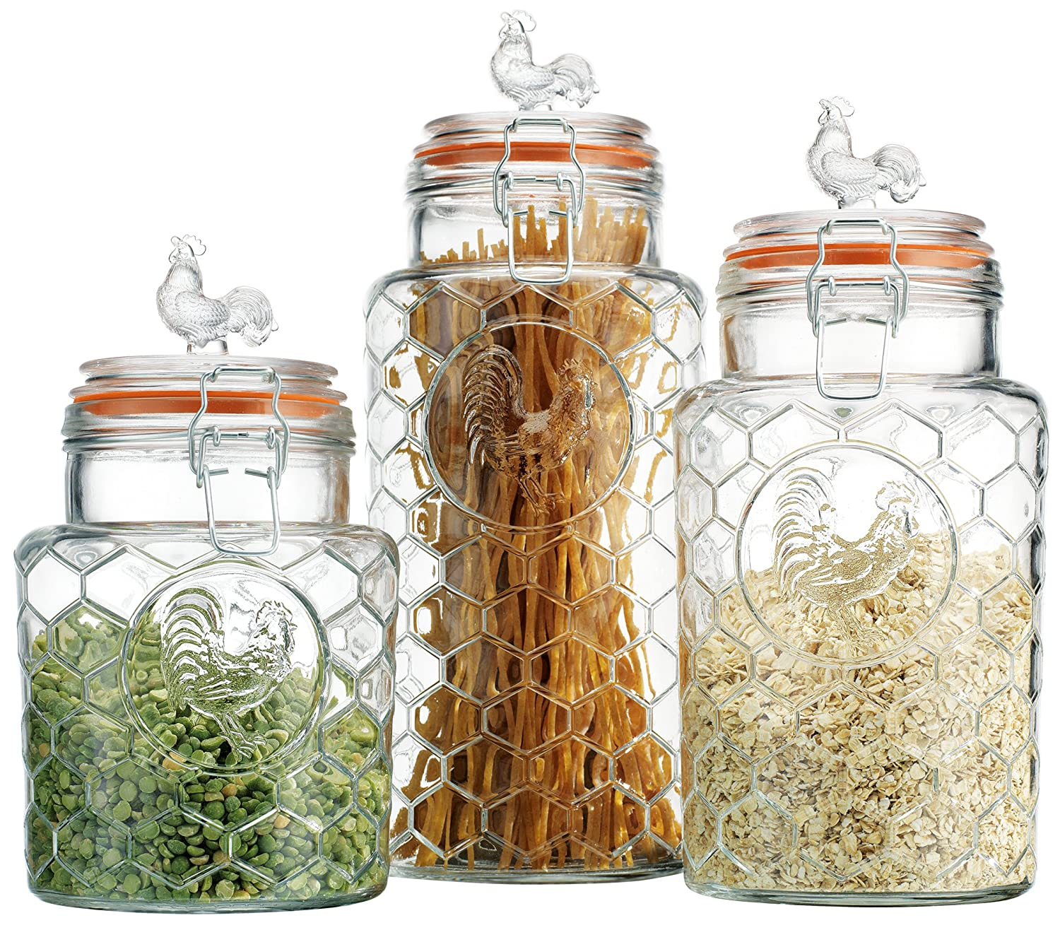 amazon com palais rooster clear glass canister with bail amazon com palais rooster clear glass canister with bail trigger locking lids set of 3 7