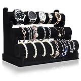 VENKON - 3 Etagen Samt Armbandhalter Uhrenständer für Uhren Halsketten Handschmuck - schwarz - 23 x 30 x 18 cm