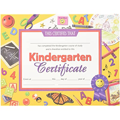 Hayes Kindergarten Certificate, 8-1/2 X 11 in, Paper, Pack of 30: Toys & Games