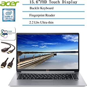 "2020 Newest Acer Swift 5 Ultrathin & Lightweight Laptop, 15.6"" FHD IPS Touch Display, Intel Quad Core i7-8565U, Fingerprint Reader, Backlit Keyboard + CUE Accessories (16GB RAM| 512GB SSD)"