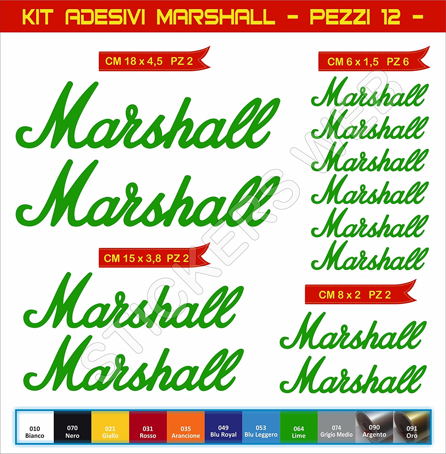 Decal Stickers Marshall Motorcycle Cod. 0573 Arancione cod. 035 Pimastickerslab