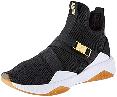 PUMA Womens Defy Mid Varsity WNS, Black-Metallic Gold, ...