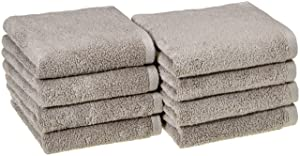 AmazonBasics Quick-Dry Hand Towels - 100% Cotton, 8-Pack, Platinum