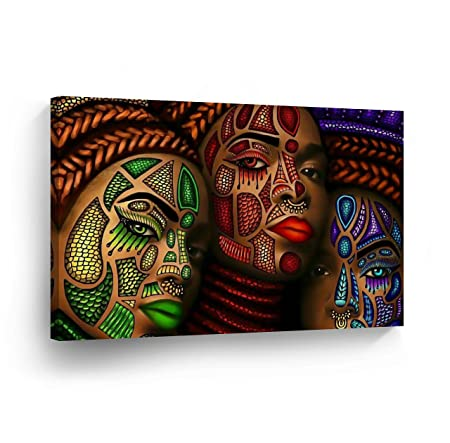 SmileArtDesign Three African Women Stylish Make up Modern Art Painting Canvas Print Decorive Wall Art African Art Home Decor Stretched Ready to Hang – 100 Handmade in The USA – 11×17