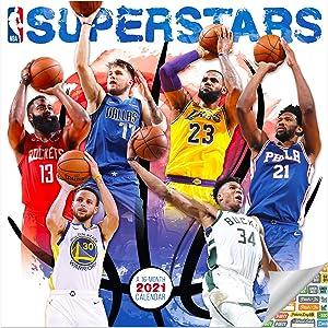 NBA Superstars Calendar 2021 Bundle - Deluxe 2021 NBA Superstars Wall Calendar with Over 100 Calendar Stickers (NBA Superstars Gifts, Office Supplies)
