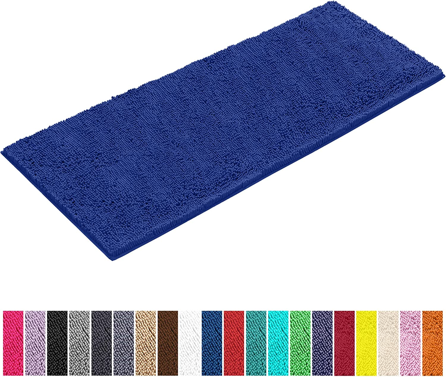 LuxUrux Bath Mat-Extra-Soft Plush Bath Shower Bathroom Rug,1'' Chenille Microfiber Material, Super Absorbent Shaggy Bath Rug. Machine Wash & Dry (27''x 47 inches, Blue)