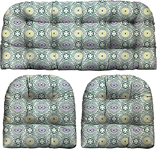 RSH D cor Indoor Outdoor Medallion Dotted Tab Prints – 3 Pc Tufted Wicker Cushion Set 1 Loveseat 2 U-Shape-Choose Color Size Baliblock Hunter Green Circle Medallion, LS 44 x22 US 21 x21