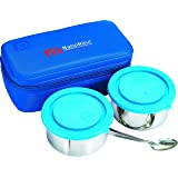 NanoNine Midday Meal Stainless Steel Lunch Box Set,  2-Pieces, Blue