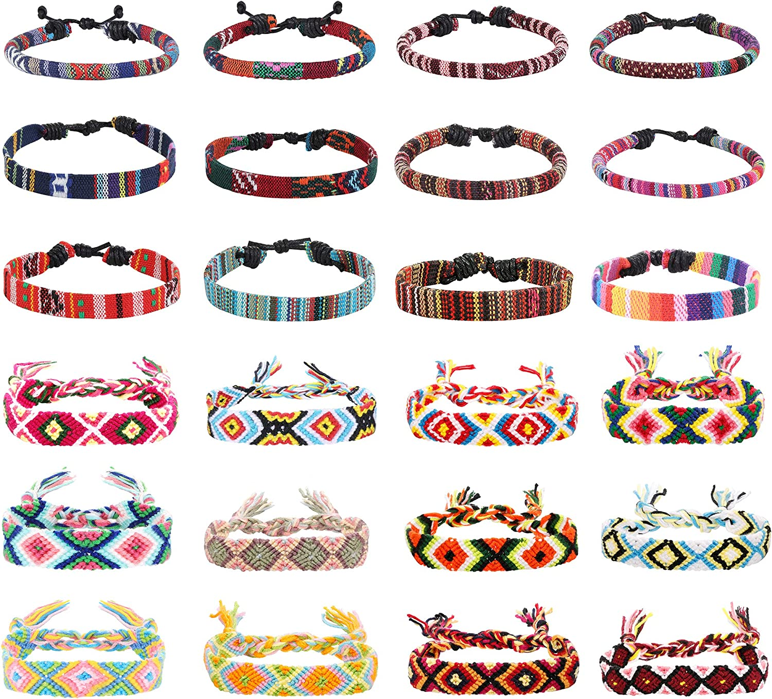 LOYALLOOK 24pcs Men Women Linen Hemp Cords Wood Beads Ethnic Tribal Bracelets Leather Wristbands Friendship Bracelet For Men Women