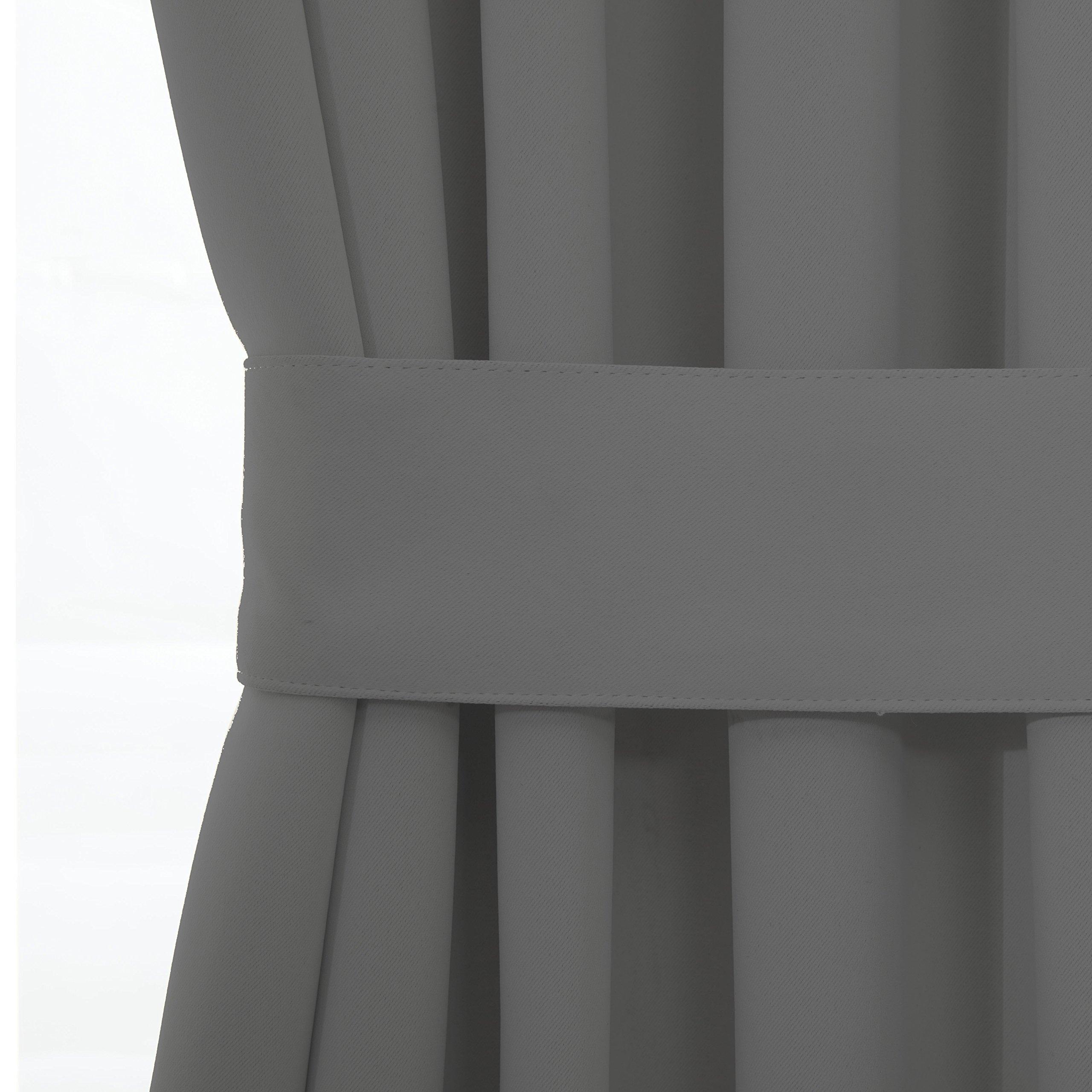 Blackout Door/ Window Curtain Panels for Privacy - Aquazolax 54W x 40L Blackout Window Treatment Curtains for French Door - 1 Panel, Grey by Aquazolax (Image #5)