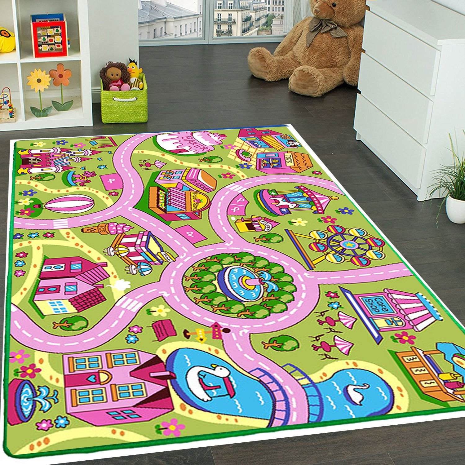 Kids Rug Fun Land Play Rug 5' X 7' Children Area Rug - Non Skid Gel Backing (59'' x 82'') Manufacturer's Suggested Retail Price $149.99