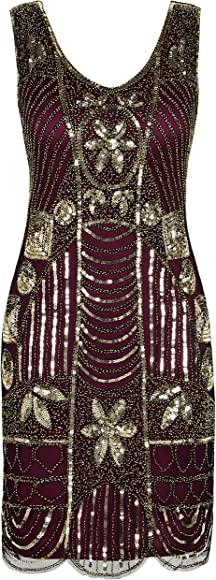 ea807955 PrettyGuide Women's 1920s Gatsby Sequin Art Deco Scalloped Hem Cocktail Flapper  Dress M Gold Burgundy