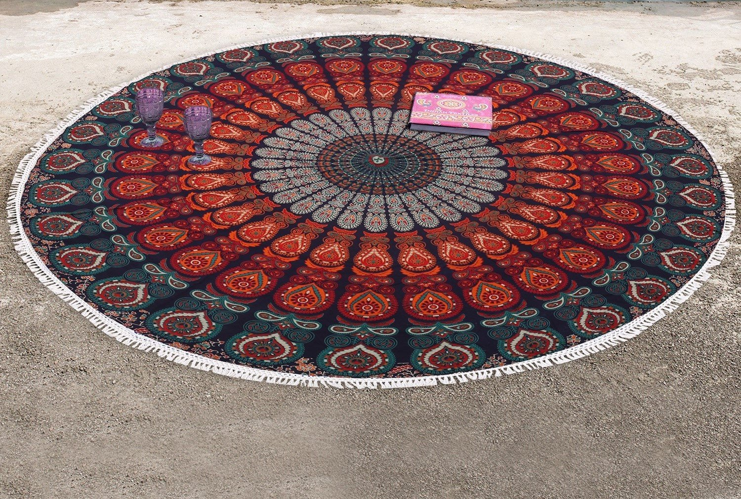 (Roundie 100cm, Purple Pink) Bless International Indian hippie Bohemian Psychedelic Peacock Mandala Wall hanging Bedding Tapestry (Purple Pink, Roundie 100cm) B079X4S6RM Roundie 40