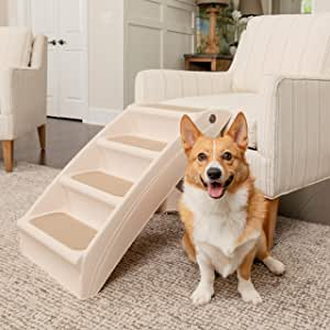 Activane Foam Pet Stairs 2-Story Stairs Deer Velvet Holster Washable Cat Dog Stair Steps Non-Slip for Pets Play