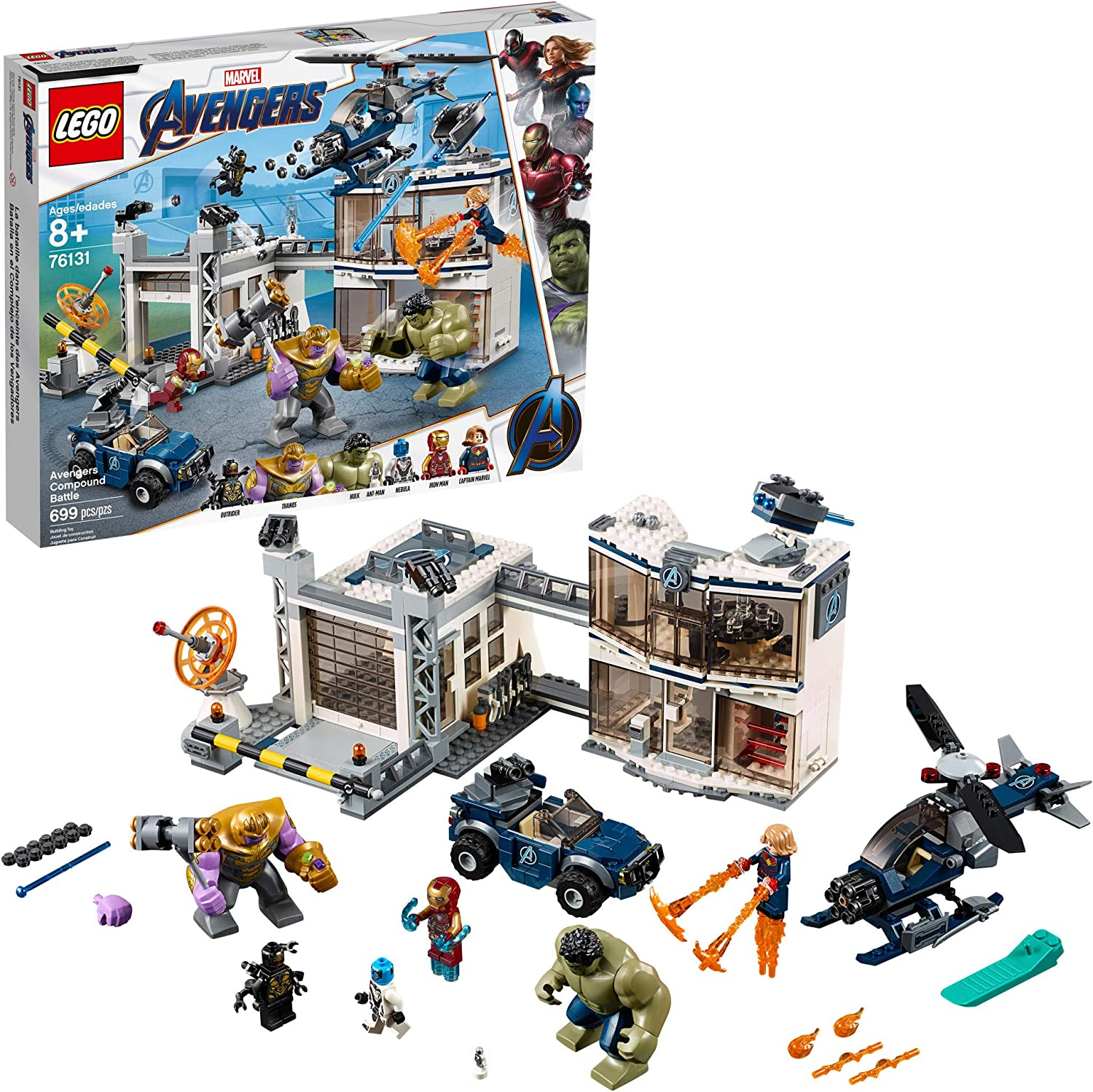 Amazon Com Lego Marvel Avengers Compound Battle 76131 Building Set Includes Toy Car Helicopter And Popular Avengers Characters Iron Man Thanos And More 699 Pieces Toys Games