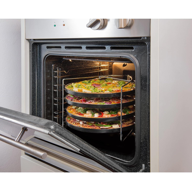 Grizzly Juego de bandejas para pizza de 4 unidades y 1 x Rejilla porta platos - Antiadherente