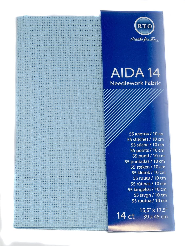 RTO Aida 14 Count Fabric, 100 Percent Cotton, Pale Blue, 39 x 45 cm 085 16