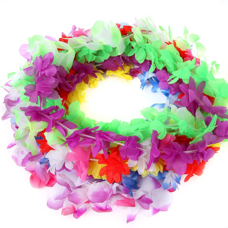 Amazon Silk Hawaiian Leis Necklace For Luau Party Flower Lei