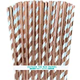 Rose Gold Solid and Stripe Foil Paper Straws - 7.75 Inches - 50 Pack - Outside the Box Papers Brand