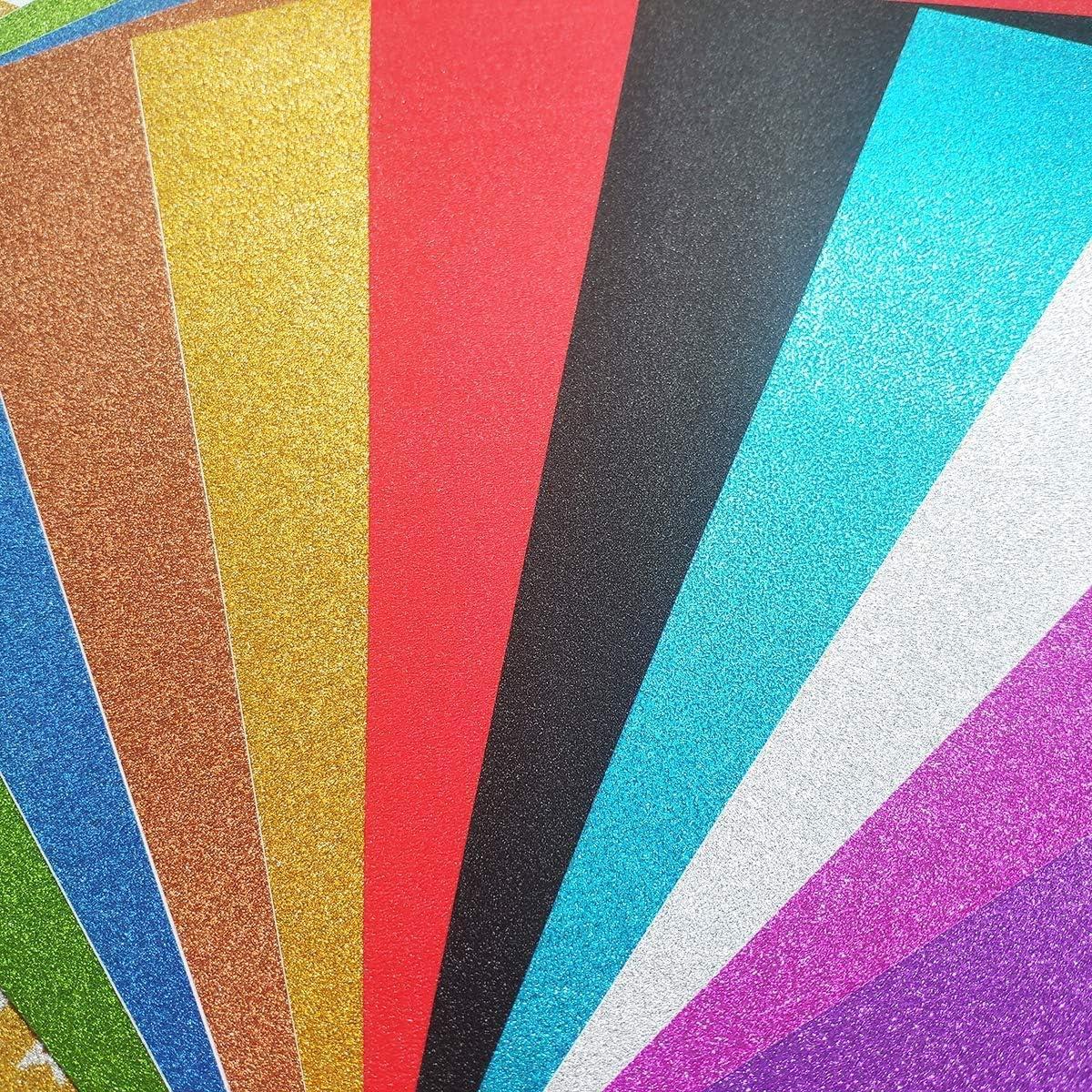 YXJDWEI 10 Feuilles A4 Papiers Paillette Autocollant Multicouleurs Bricolage Artisanat