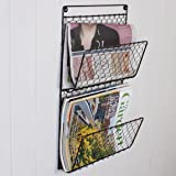 Three Compartment Wall Mounted Metal Mail And Magazine Rack Wall Store Holder - Durable Iron Storage Solution for Kitchen, Living Room, Bedroom and Home Office - Useful Wall Mounted Furniture for Paperwork and books - ideal for studies or coffee shops - beautiful, hardwearing accessory for any occasion - great housewarming, birthday or christmas gift - Industrial / Rustic / Farmhouse Style H48 x W29 x D11cm