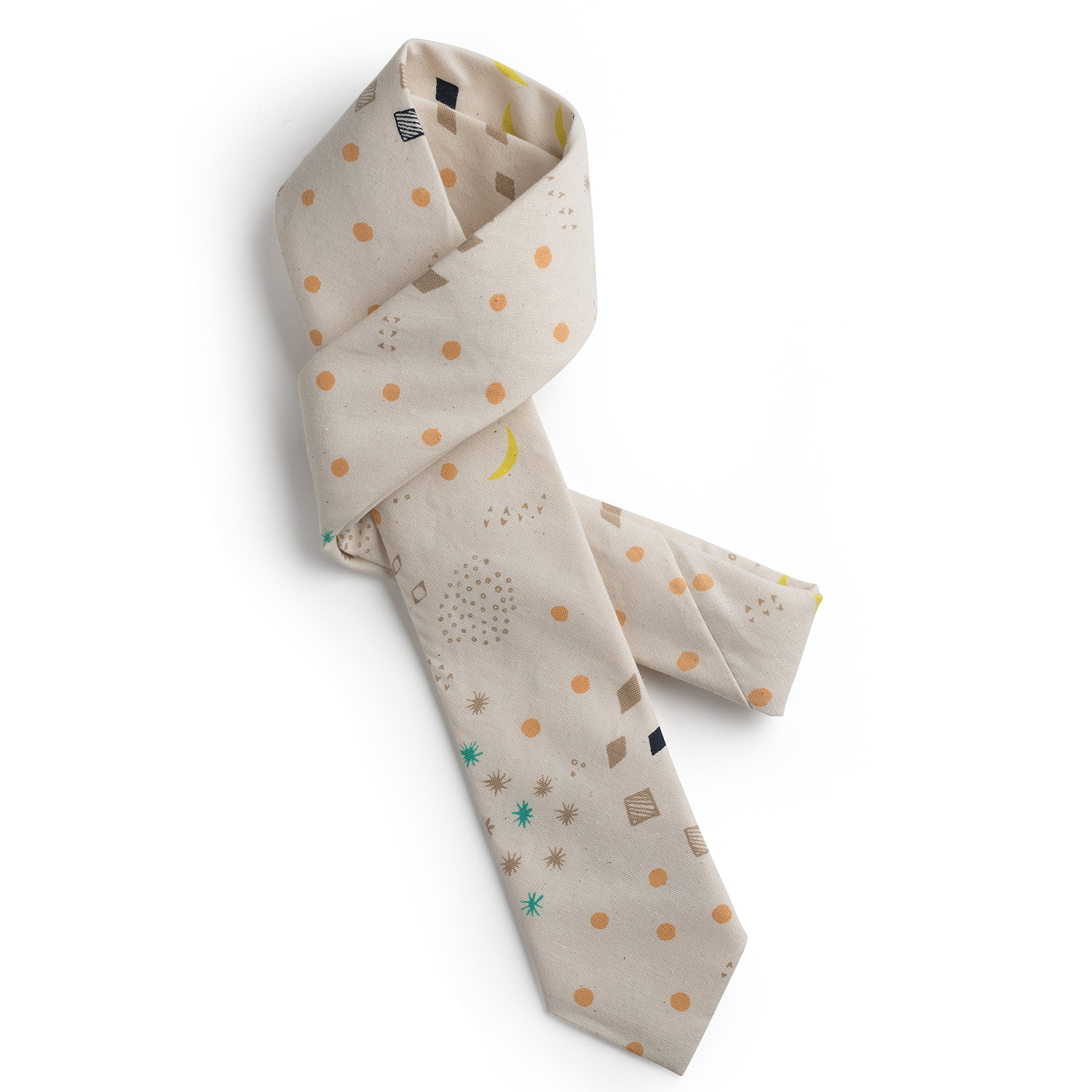 Jacqueline & Jac Moon and Stars Boys Necktie – Narrow Design for Kids Ages 5-12 – Unique, Trendy Design for Festive/Formal Occasions