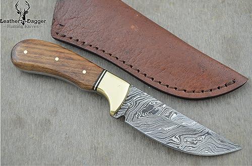 Leather-n-Dagger Professional Custom Handmade Damascus Steel Skinner Hunting Knife LD116