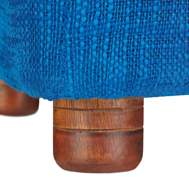 Relaxdays Fußhocker gepolstert aus Baumwolle, kleiner Hocker mit ...