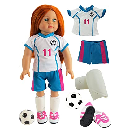 26716eb1b Pink & Teal Soccer Player Outfit with Uniform, Shin Guards, Socks, Soccer  Ball ...