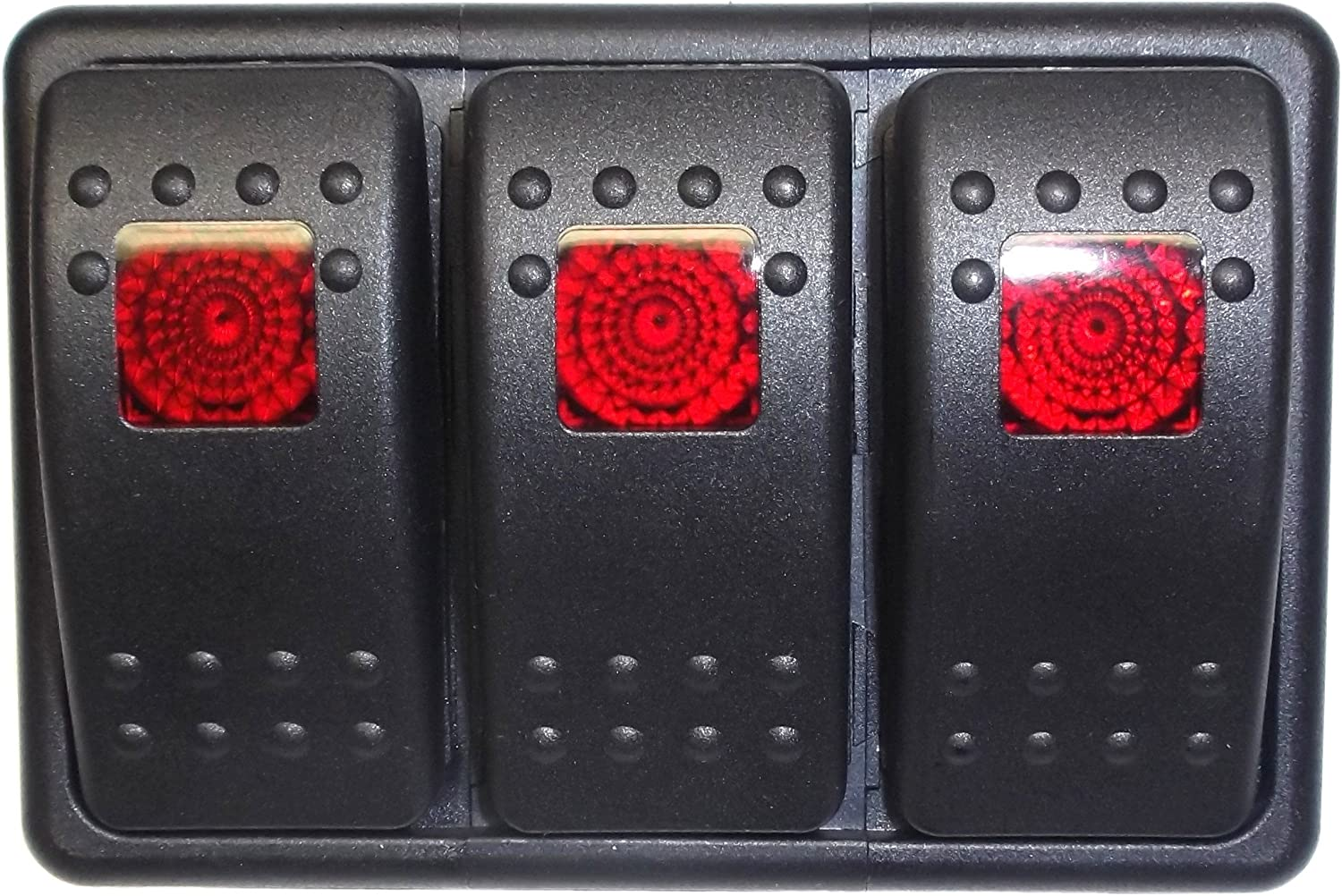 Fastronix Lighted 3 Rocker Switch Panel Auto/Marine (Red)