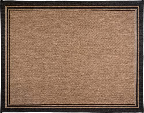 Gertmenian 22012 Tropical Modern Outdoor Rug Simple Patio Carpet, 9×13 X Large, Border Black