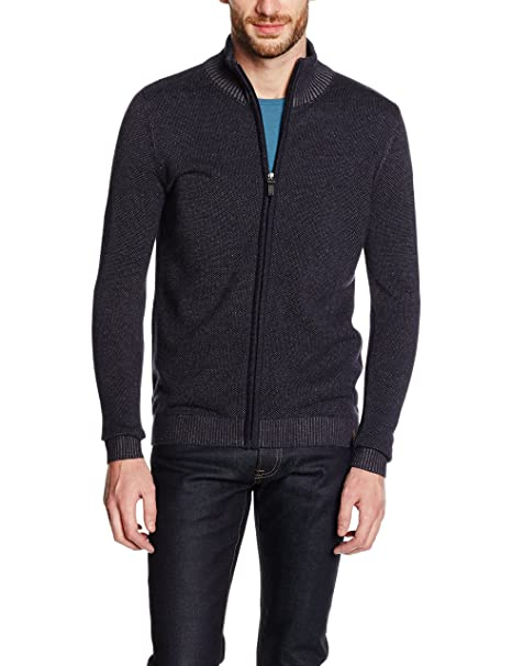 Tom Tailor Modern Plated Zip Jacket, Chaqueta Punto Hombre, Azul (Knitted Navy)