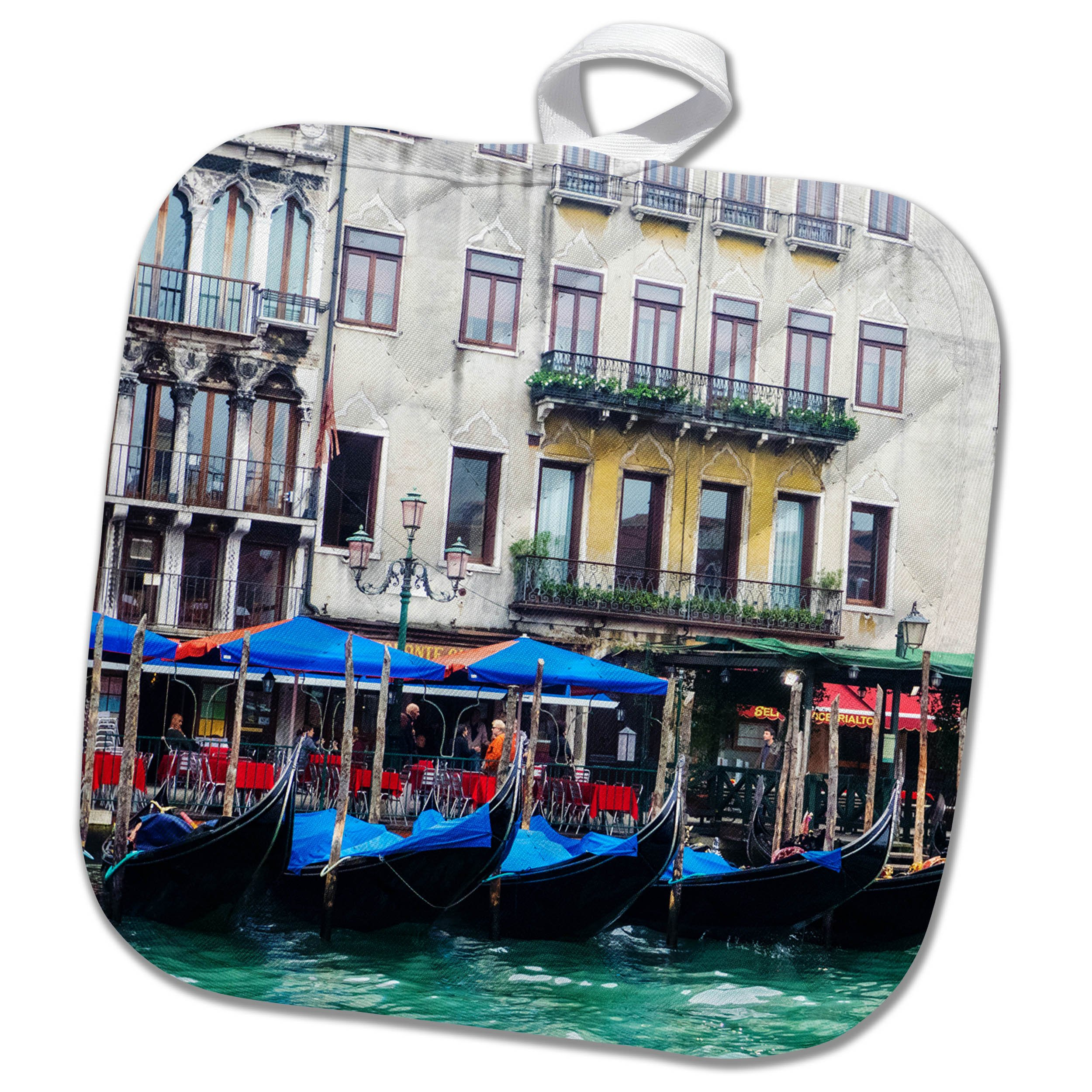 3dRose Danita Delimont - Cities - Italy, Venice, Buildings along the Grand Canal with Gondolas parked - 8x8 Potholder (phl_277664_1)