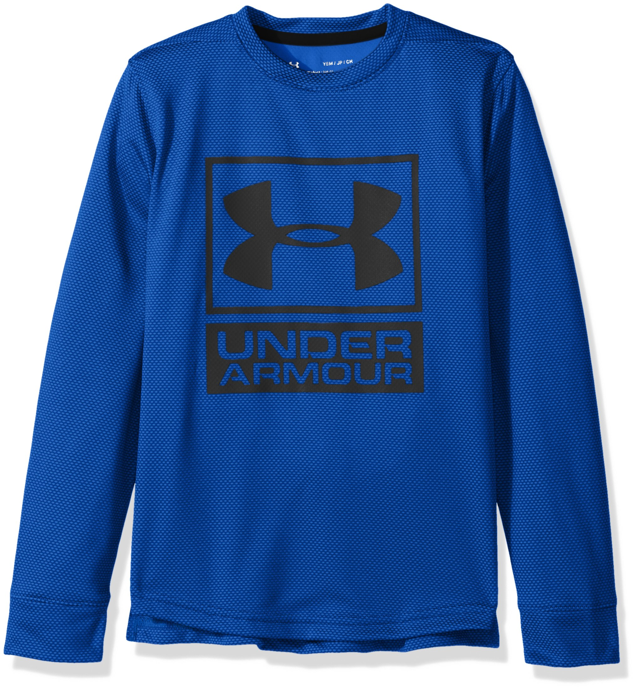 Under Armour Boys' Tech Textured Crew,Ultra Blue /Black, Youth Medium by Under Armour