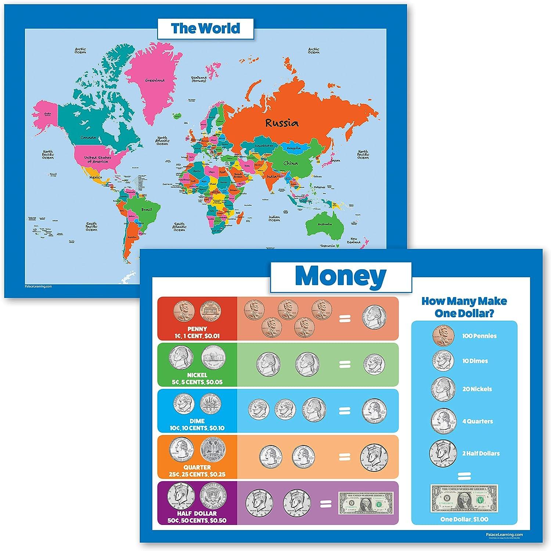 Juego de 2 carteles de mapa del mundo para niños y dinero - Gráficos de pared de mapa del mundo y dinero: Amazon.es: Oficina y papelería