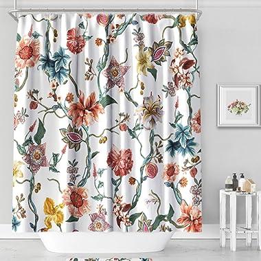 MACOFE Shower Curtain Flower Shower Curtain Art Print Polyester Fabric, Waterproof, Machine Washable,Hooks Included,Bathroom Decoration Original Design Hand Drawing,71x71inch (Flower Vine)
