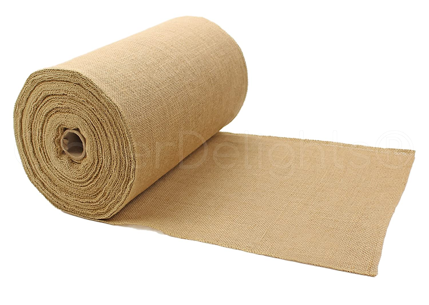"CleverDelights 14"" Premium Burlap Roll - 50 Yards - No-Fray Finished Edges - Natural Jute Burlap Fabric"