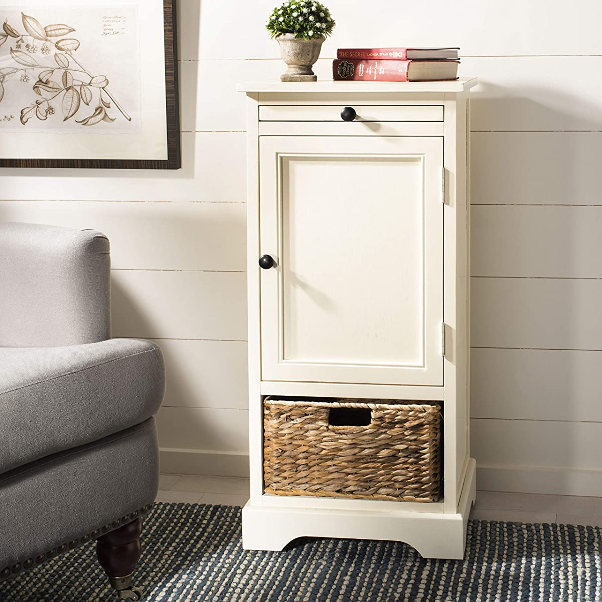 Safavieh American Homes Collection Raven Distressed Cream Tall Storage Unit