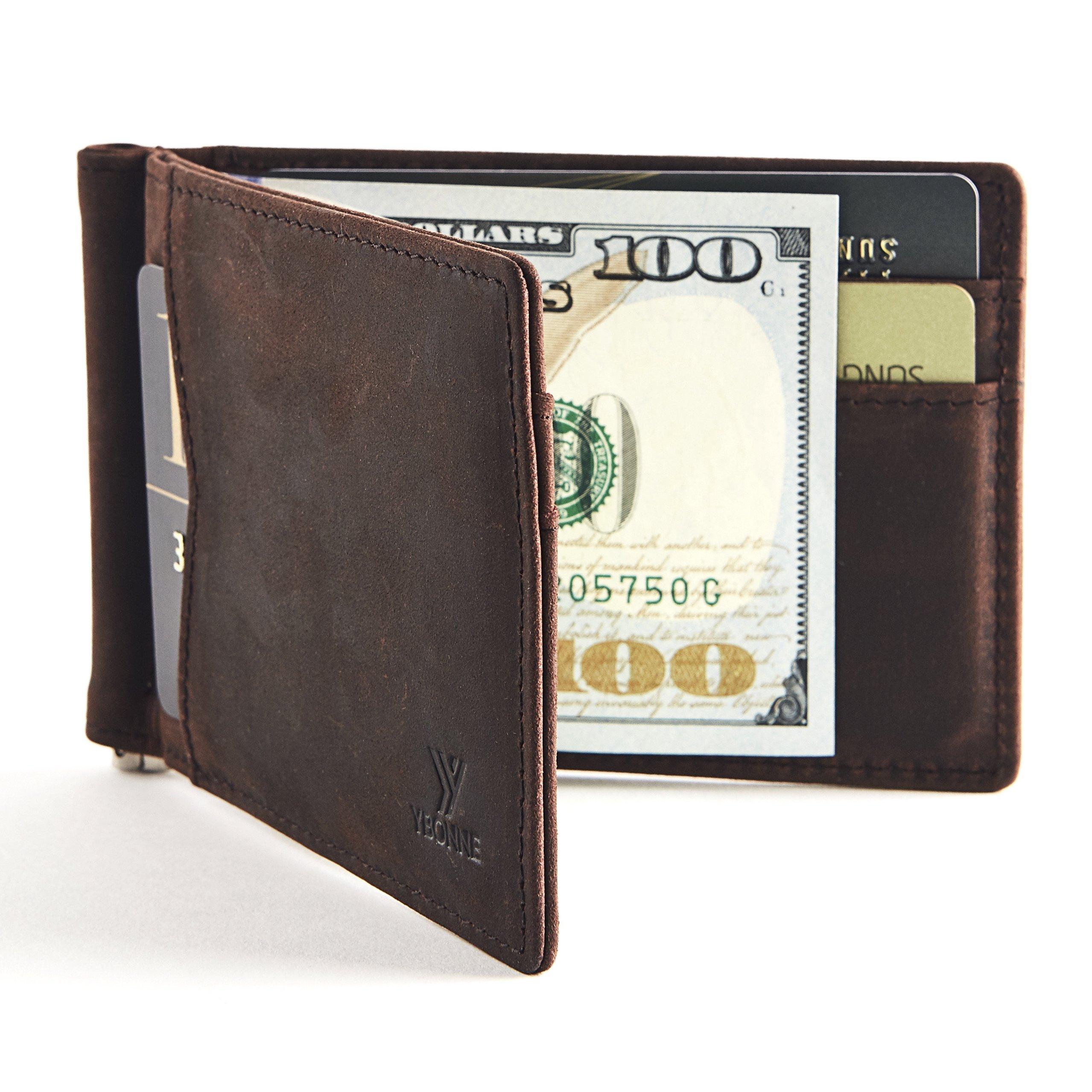 YBONNE New Slim Wallet with Money Clip Finest Genuine Leather RFID Blocking Minimalist Men's Bifold