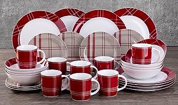 Lovely 32 Piece Highland Red Tartan Dinner Set