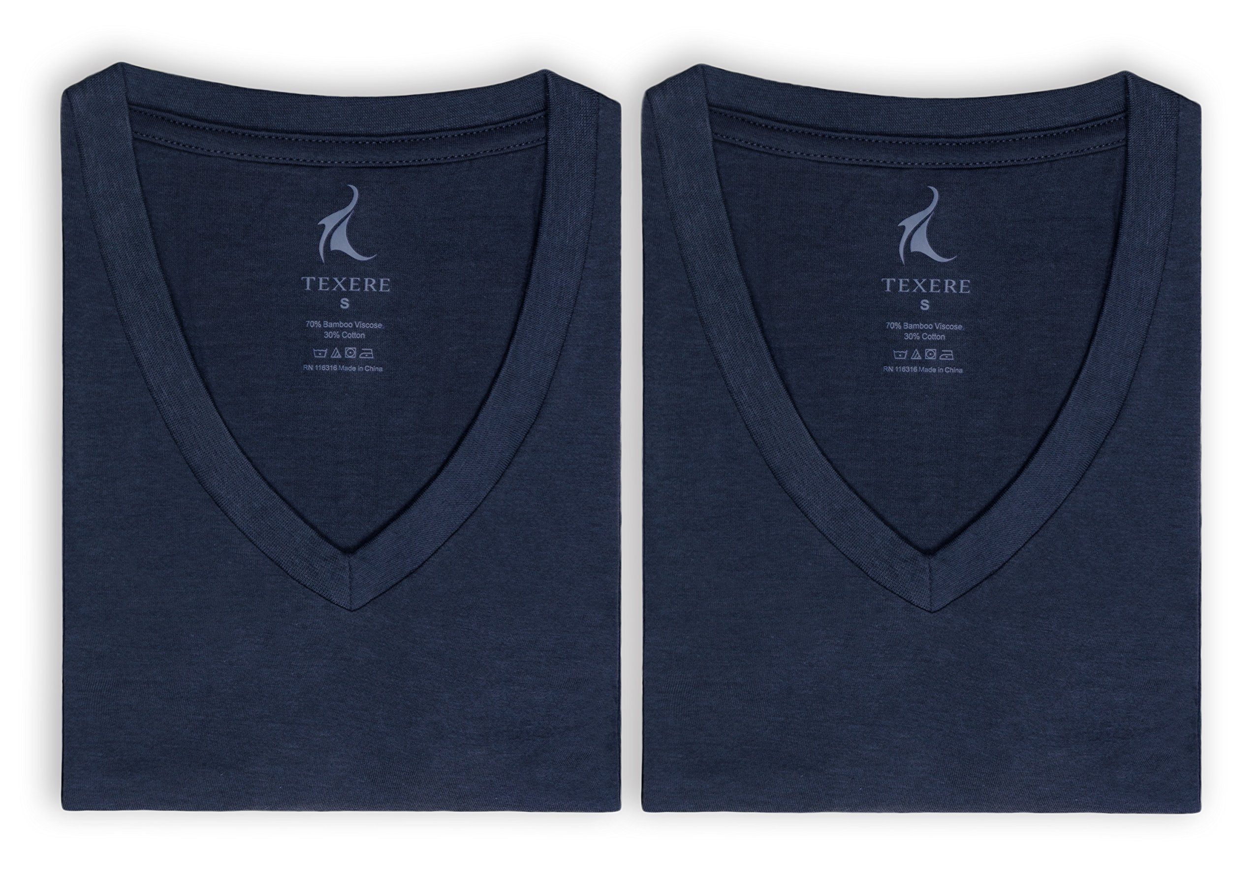Men's V-Neck Undershirts in Bamboo Viscose - 2 Pack Shirt for Him by Texere (Midnight Blue, Large) Great Comfy Travel Short Sleeve Shirts for Guys MB6302-MID-L