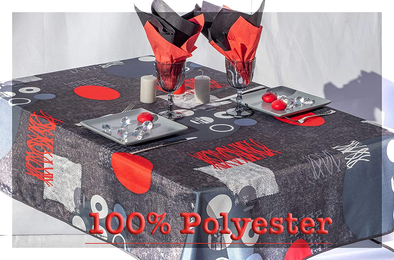 100/% Polyester 160 cm de diam/ètre, Gris Tissu Anti Taches villagesdeprovence.net Nappe de Table Lune Grise rectangulaire ou Ronde